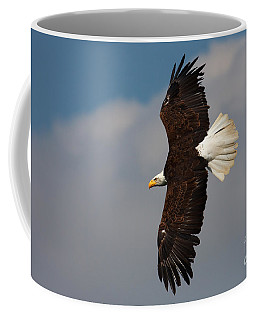 Coffee Mug featuring the photograph American Bald Eagle In Flight by Nick  Biemans