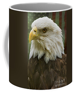American Bald Eagle With American Flag Background Coffee Mug by Anne Rodkin