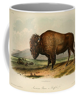 Coffee Mug featuring the drawing American Bison  by Celestial Images