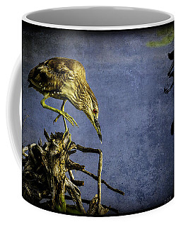 American Bittern With Brush Calligraphy Lingering Mind Coffee Mug by Peter v Quenter