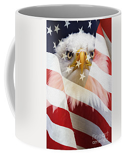 American Flag And Bald Eagle Montage Coffee Mug