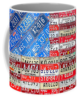 American Flag Recycled License Plate Art Coffee Mug