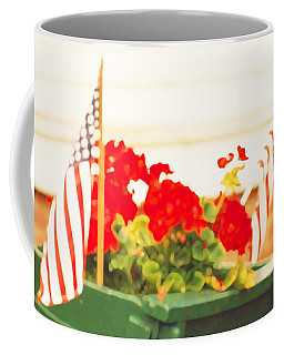 American Flags And Geraniums In A Wheelbarrow One Coffee Mug by Marian Cates