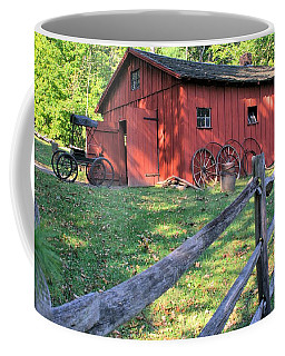 Coffee Mug featuring the photograph Amish Barn Along A Fenceline by Gordon Elwell