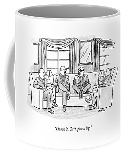 Among Three Other Men With Their Legs Crossed Coffee Mug