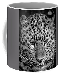 Amur Leopard In Black And White Coffee Mug