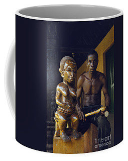 An African Wood Carver And His Statue In Mali 1959 Coffee Mug