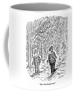 An Aggravated Skier Glares At Another Skier Who Coffee Mug