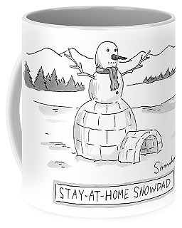 An Arctic Igloo With A Snowman Top Coffee Mug