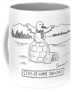 An Arctic Igloo With A Snowman Top Coffee Mug