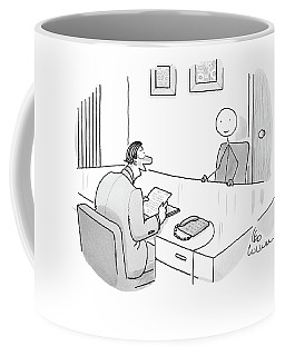 An Employer Interviews A Stick Figure Coffee Mug
