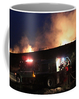 An Engine Crew Works At Night On White Draw Fire Coffee Mug