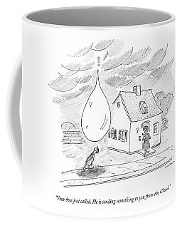 An Enormous Rain Drop Falls Out Of The Sky Onto Coffee Mug