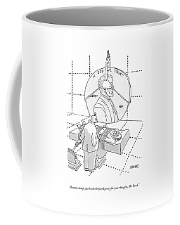 An Evil Criminal Holds A Lever That Is Lowering Coffee Mug
