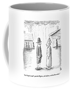 An Indian Chief Speaks To A Pilgrim Coffee Mug