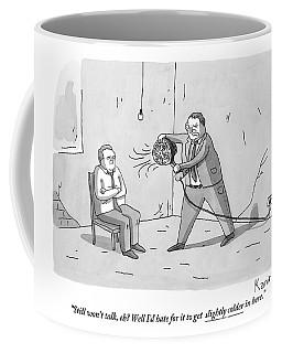 An Interrogation Officer Points A Small Fan Coffee Mug
