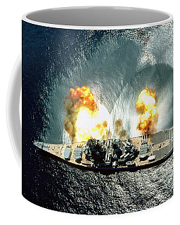An Overhead View Of The Battleship Uss Iowa Bb61 Firing All 15 Of Its Guns Coffee Mug