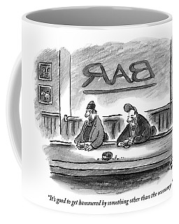 An Unshaven Man Says To Another Man At A Bar Coffee Mug