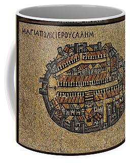 Ancient Jerusalem Mosaic Map Color Framed Coffee Mug