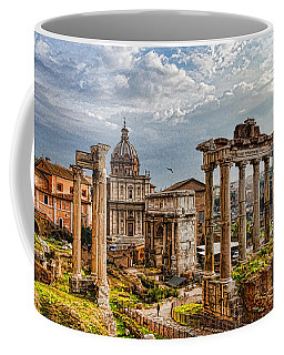 Ancient Roman Forum Ruins - Impressions Of Rome Coffee Mug by Georgia Mizuleva