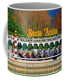 And They're Off At Santa Anita Coffee Mug by Nadalyn Larsen