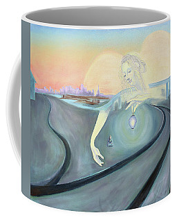 Angel Bringing Light To Meditating Woman At The Train Tracks Coffee Mug