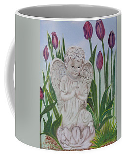 Coffee Mug featuring the painting Angel In The Garden by Sharon Schultz
