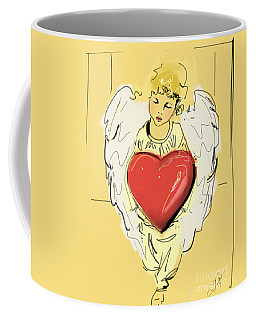 Coffee Mug featuring the painting Angel Red Heart by Go Van Kampen