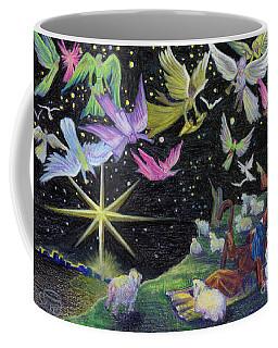 Coffee Mug featuring the painting Angel Skies by Nancy Cupp