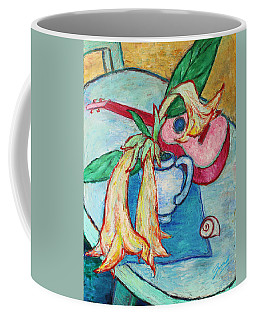 Coffee Mug featuring the painting Angel's Trumpet Flowers And A Ukulele by Xueling Zou