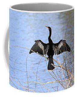 Anhinga Over Blue Water Coffee Mug