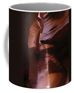 Coffee Mug featuring the photograph Antelope Canyon With Light Beam by Alan Socolik