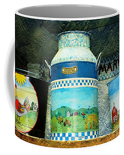 Coffee Mug featuring the photograph Antique Dairy Milk Can And Pails by Judy Palkimas