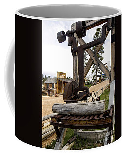 Coffee Mug featuring the photograph Antique Table Saw Tool Wood Cutting Machine by Paul Fearn