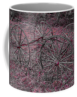 Coffee Mug featuring the photograph Antique Wagon Wheels by Sherman Perry