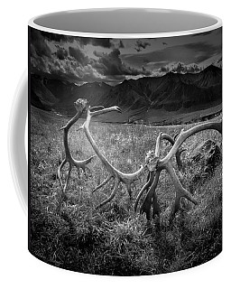 Antlers In Black And White Coffee Mug by Andrew Matwijec