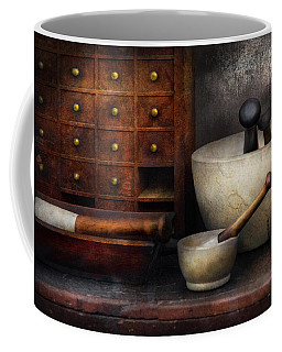 Apothecary - Pestle And Drawers Coffee Mug by Mike Savad