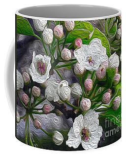 Coffee Mug featuring the photograph Apple Blossoms In Oil by Nina Silver