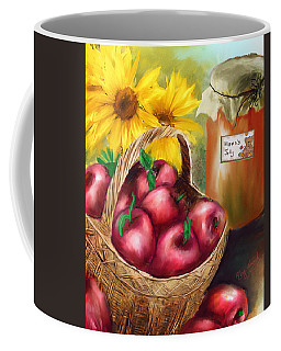Coffee Mug featuring the digital art Apple Harvest by Mary Almond