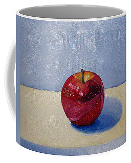 Coffee Mug featuring the painting Apple - White And Blue. by Katherine Miller