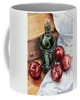 Coffee Mug featuring the painting Apples And A Bottle Of Liqueur by Joey Agbayani