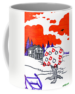 Coffee Mug featuring the drawing Appletree Psyche-scape by John Ashton Golden
