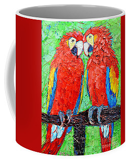 Ara Love A Moment Of Tenderness Between Two Scarlet Macaw Parrots Coffee Mug