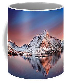 Arctic Dawn Over Reine Village Coffee Mug by Janet Burdon