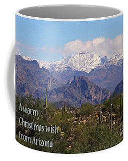Arizona Christmas Card - Superstitions With Snow Coffee Mug