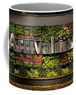Arrival Sign Arrow And Flowers At Singapore Changi Airport Coffee Mug