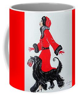 Art Deco  Girl With Red  Coat Coffee Mug