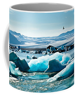 Artic Tern Over Jokulsarlon Glacier Lagoon Coffee Mug