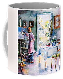 Coffee Mug featuring the painting Artist At Work In Summer  by Trudi Doyle
