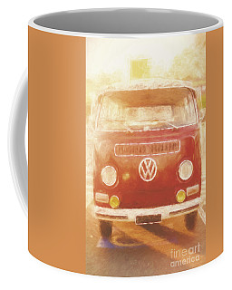 Artistic Digital Drawing Of A Vw Combie Campervan Coffee Mug